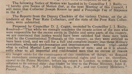 Extract from Wicklow County Council minute book 15th May 1916 passing resolution against martial law in Ireland after the 1916 Rising.