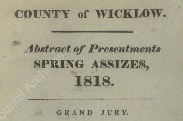 Detail from the Spring Assizes of the Grand Jury 1818 - includes famous Wicklow names Parnell and Synge