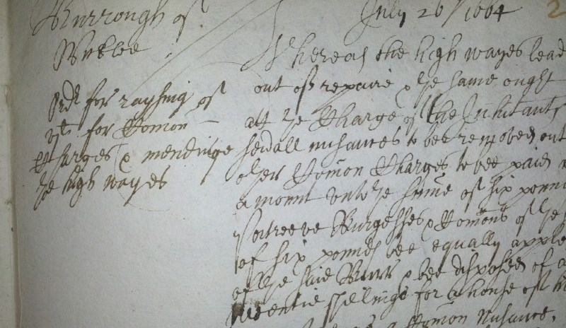 Detail from Wicklow Borough Records, 1664